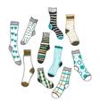 Set of doddle socks on a white background vector image