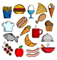Food snacks and dessert icons vector image