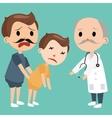 dad bring sick kids to doctor emergency medical vector image