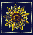 graphic sunflower in dots vector image