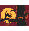 halloween cat in tree vector image