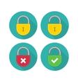 Yellow lock icon set vector image
