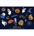 18 Halloween Elements Set Seamless Pattern vector image