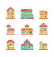 Set flat icons of houses and buildings vector image