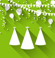 holiday background with party hats balloons vector image vector image