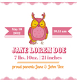 Baby Shower or Arrival Cards - Owl Theme vector image