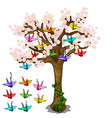 japanese sakura with origami of cranes vector image