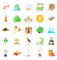 journey icons set cartoon style vector image