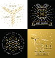 Merry christmas outline gold set bauble deer holly vector image