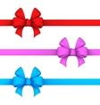 Red pink and blue gift bows vector image