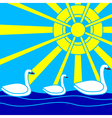 swans sea and sun vector image vector image