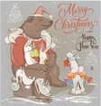 christmas card with bear and hares vector image