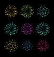 set of fireworks object vector image