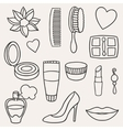 Beauty and fashion set of cosmetic accessories vector image