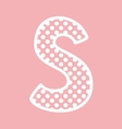 S alphabet letter with white polka dots on pink vector image