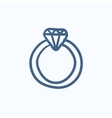 Diamond ring sketch icon vector image