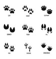 animal tracking icons set simple style vector image