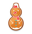 gingerbread cookies snowman of merry vector image