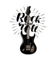 rock and roll music concept guitar typographic vector image