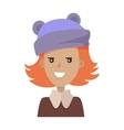 Smiling Young Pretty Red-Haired Girl in Blue Hat vector image