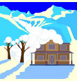 snow avalanche in mountains covered cottage roof vector image