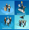 business winning leaders 4 isometric icons vector image vector image