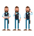 man stands with tablet calls on phone characters vector image