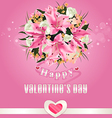Valentines day background with flower bouquet vector image
