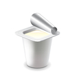 Yogurt in plastic cup isolated on white vector image