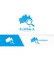 australia and loupe logo combination vector image