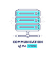 blue data server with text communication vector image