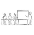 blurred silhouette men group sitting in a desk for vector image