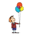 Boy and colorful balloons vector image