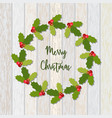 christmas wreath of holly berry vector image
