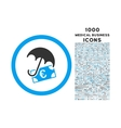Euro Financial Umbrella Rounded Icon with 1000 vector image