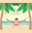 man relax on the beach cradle after hard working vector image