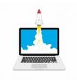 Rocket launching on laptop vector image