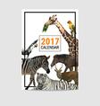 2017 calendar cover animal polygon vector image