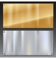 Shiny brushed metal plate banners on white vector image