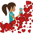mom holding her baby with heart decoration vector image