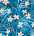 Palm leaves blue seamless pattern with frangipani vector image vector image