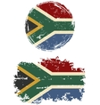 South African round and square grunge flags vector image