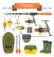 Set of fishing supplies Objects for decoration vector image vector image