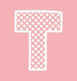T alphabet letter with white polka dots on pink vector image