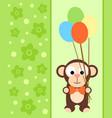 background card with funny monkey vector image