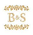 bs vintage initials logo symbol letters b vector image
