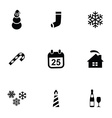 christmas 9 icons set vector image