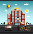 People in the city with skyline on horizon hotel vector image