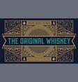 Whiskey label vintage logo western vector image