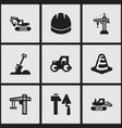 set of 9 editable building icons includes symbols vector image